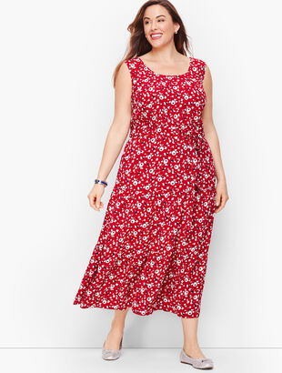 Floral Crepe Tiered Maxi Dress