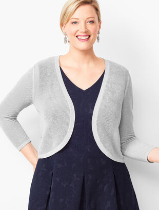 Plus Size Lurex Open-Stitch Dress Shrug
