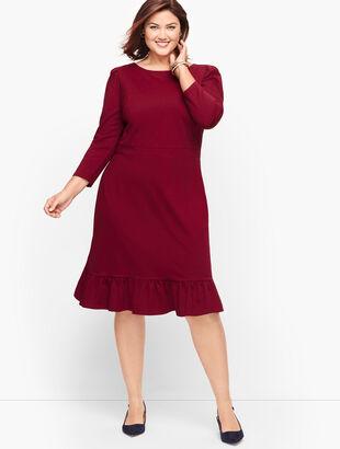 Flounce Hem Ponte Sheath Dress - Solid