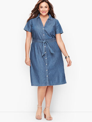 Plus Size Exclusive A-Line Dress - Denim