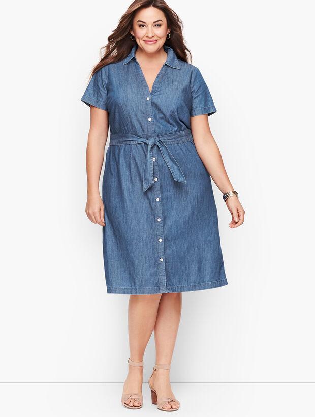 Plus Size Exclusive A-Line Dress - Denim