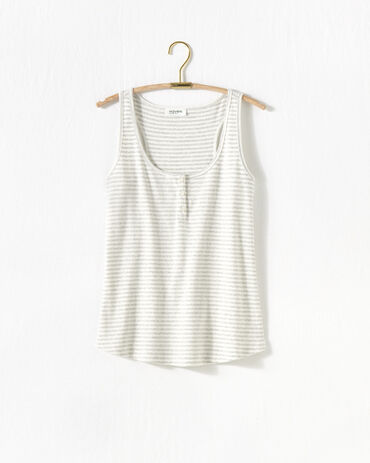 Striped Ribbed Henley Tank
