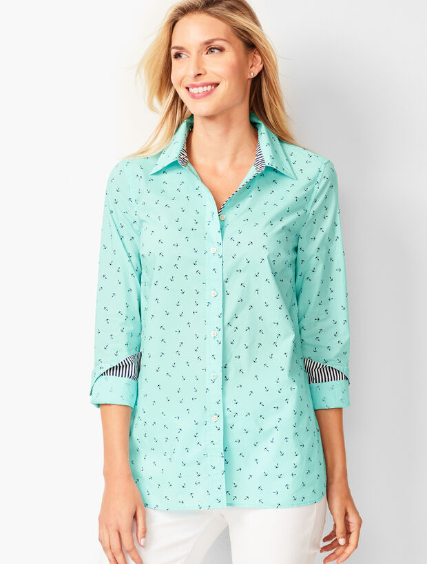 Classic Cotton Shirt - Anchor Print