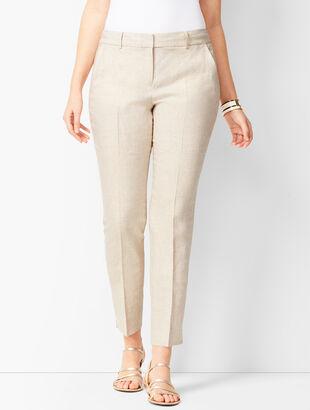Linen Slim Ankle Pants - Curvy Fit - Solid