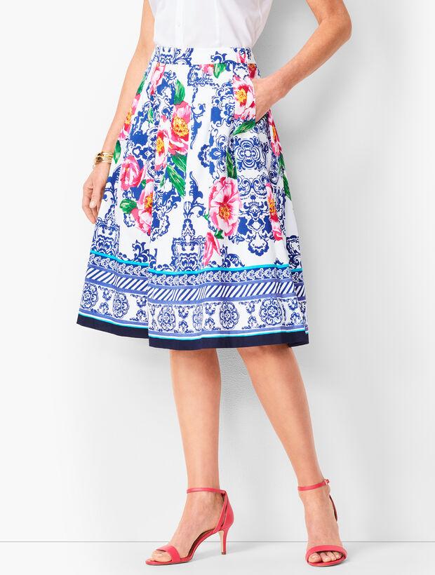 Peony-Print Pleated Skirt