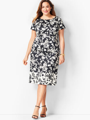 Floral Bateau-Neck Sheath Dress