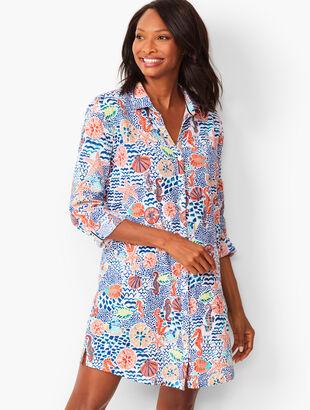 Crinkle Cotton Beach Shirt - Seahorse Print