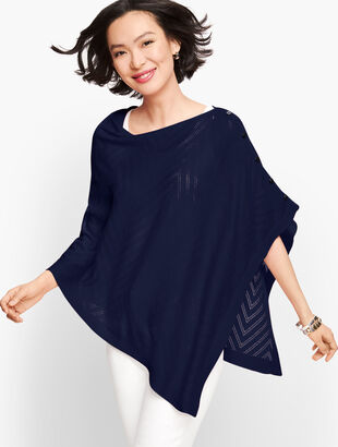 Chevron Pointelle Poncho