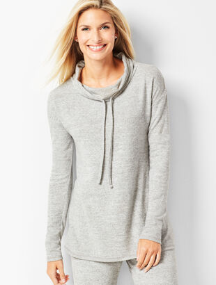 Brushed Melange Drawstring Cowlneck Top