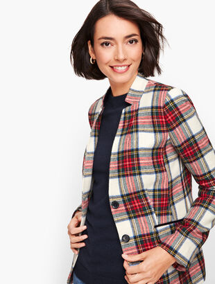 Plaid Stand Collar Blazer