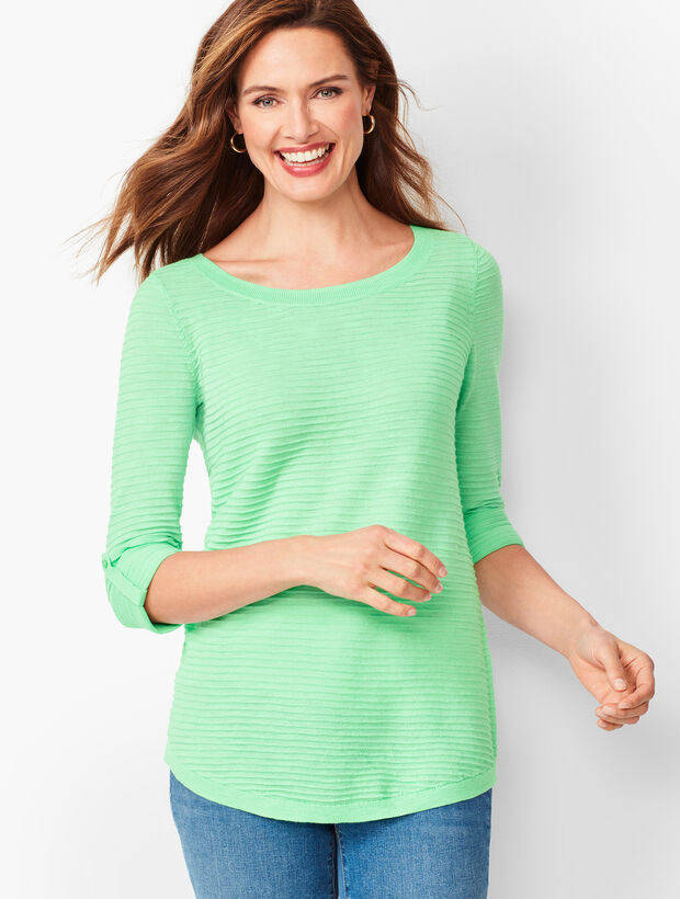 Textured Cotton Button-Tab Sweater - Solid