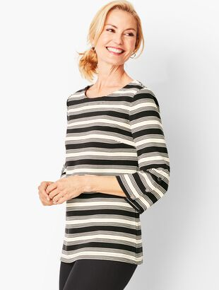 Bateau-Neck Knit Top - Stripe