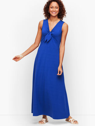 Jersey Tie Front Maxi Dress
