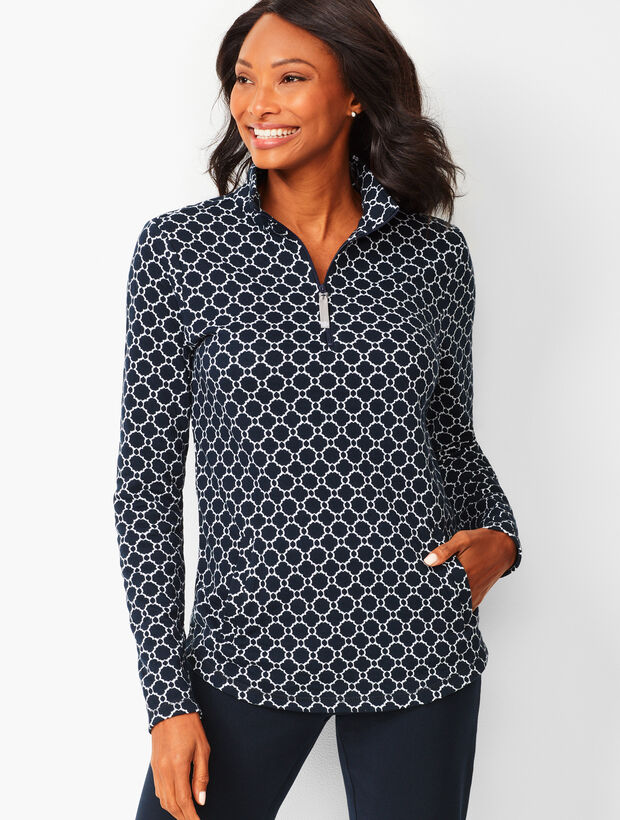 Geo-Print Cotton Pullover