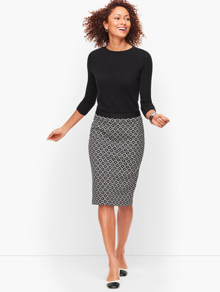 Jacquard Dot Pencil Skirt