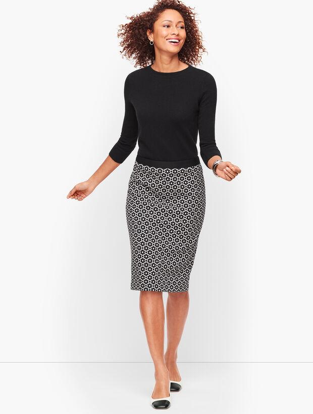 Jacquard Dot Pencil Skirt