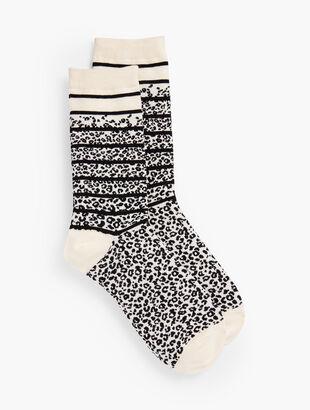 Leopard Stripe Trouser Socks