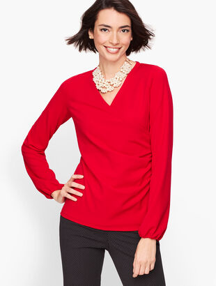Faux Wrap Crepe Top
