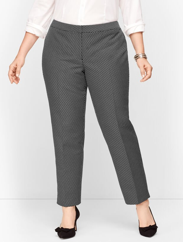 Plus Size Shimmering Jacquard Tailored Ankle Pants
