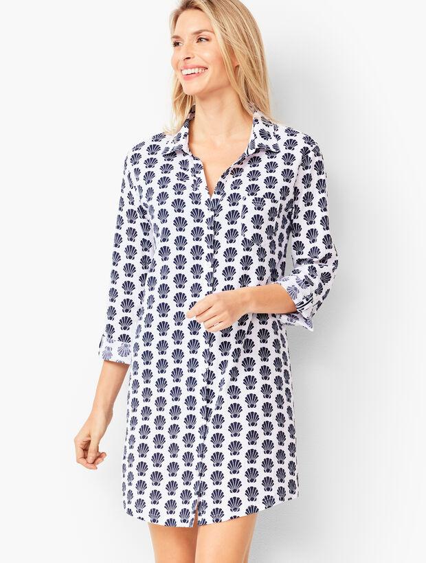 Crinkle Cotton Beach Shirt - Shell Print