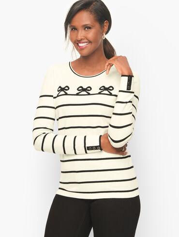 Puff Sleeve Crewneck Sweater - Bows Stripe