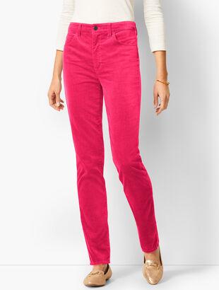 High-Rise Straight-Leg Velveteen Pant - Solid