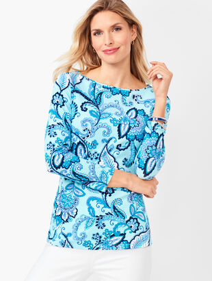 Cotton Bateau-Neck Tee - Paisley