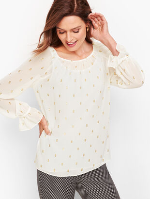 Metallic Clip Dot Top