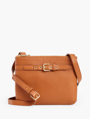 Soft Pebble Leather Double Zip Crossbody Bag