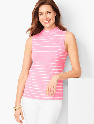 Sleeveless Ribbed Sweater - Stripe