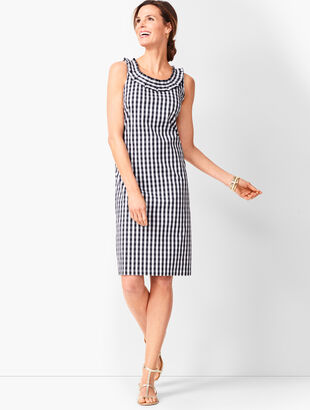 Pleat-Neck Sheath Dress - Gingham