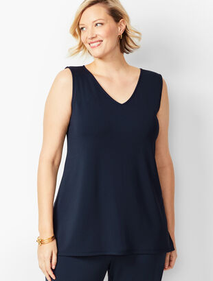 Plus Size Knit Jersey Shell - V-Neck