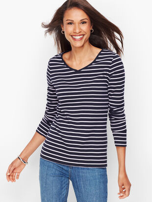 Long Sleeve V-Neck Tee - Kensington Stripe