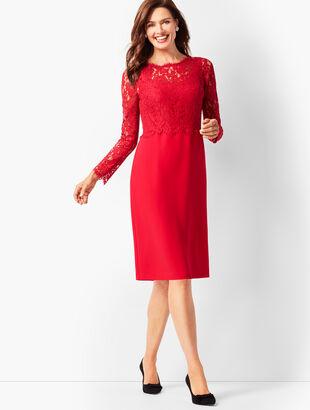 Scallop-Edge Lace & Crepe Dress