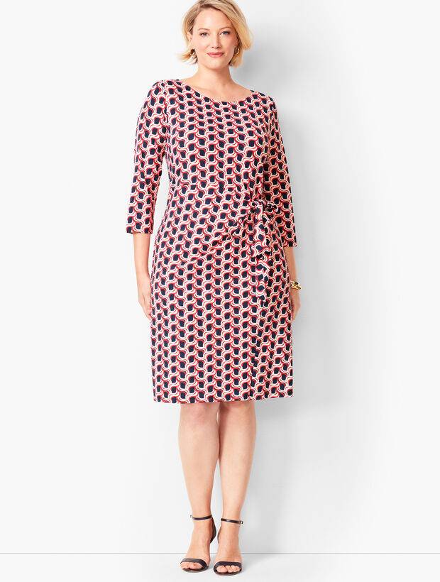 Side-Tie Swirl-Print Sheath Dress