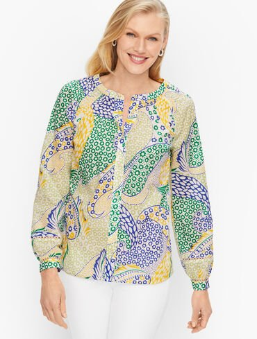 Top Stitched Cotton Top - Fresh Paisley