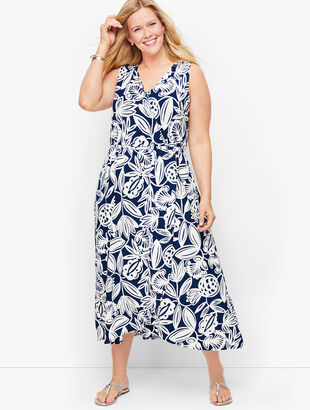 Jersey Faux Wrap Maxi Dress