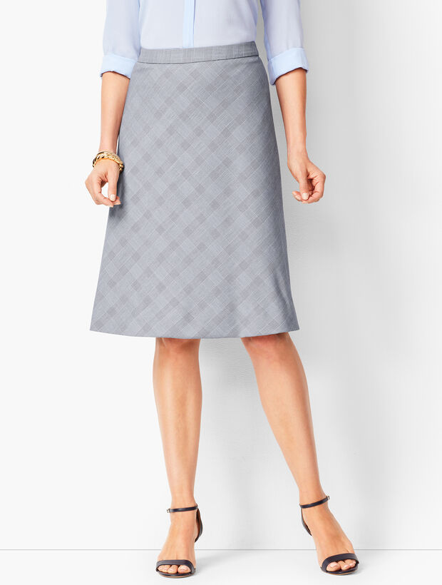 Glen Plaid Fit & Flare Skirt