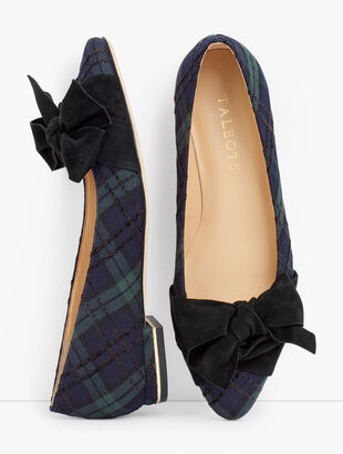 Edison Wrapped Bow Flats - Black Watch Plaid