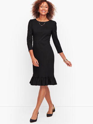 Flounce Hem Ponte Shift Dress - Solid