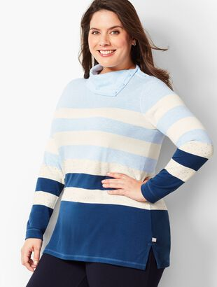 Stripe Button-Cowlneck Top