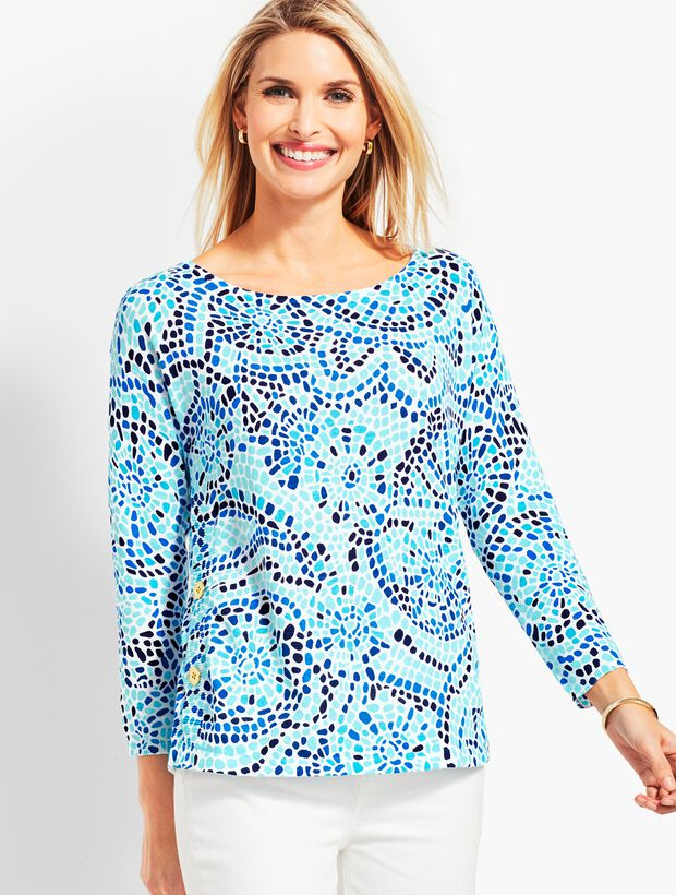 Beach Mosaic Side-Button Sweater Topper