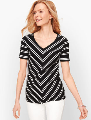 Cotton V-Neck Tee - Bias Stripe