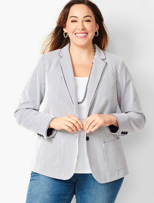 Stripe Piped Blazer