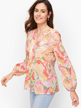 Split Neck Pintuck Top - Floral