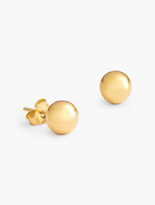 Sterling Silver Ball Stud Earrings - 12K Gold Plated