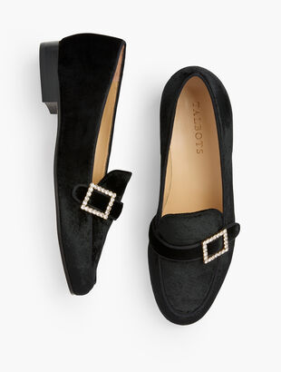 Cassidy Jewel Buckle Loafers - Velvet