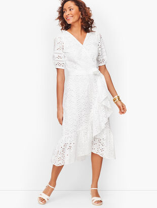 Eyelet Cascade Wrap Dress
