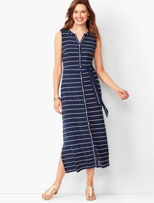 4c0f641779e Button-Front Stripe Jersey Maxi Dress