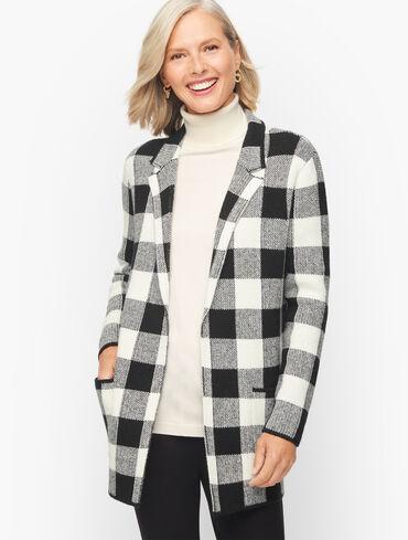 Notch Collar Sweater Jacket - Buffalo Plaid